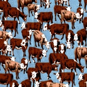 Picture of Cattle Drive Cows and Calves on Denim Print Cotton Fabric