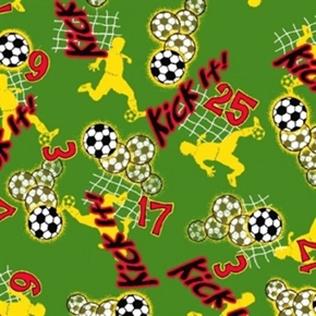 Kick It Soccer Player Kicking Balls Into Net Green Cotton Fabric