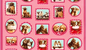 Hugs And Kisses Dog And Cat Couples 24X44 Large Cotton Fabric Panel