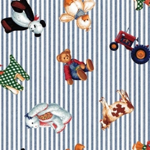 Tractor Blue Jean Teddy Bear Animals Ticking Stripe Cotton Fabric