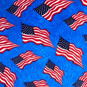 Picture of Made in the U.S.A. Waving Flags Blue Tonal Cotton Fabric