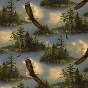 Majestic Bald Eagle Soaring Over Wooded Lake Hautman Cotton Fabric