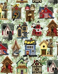Picture of Beautiful Birds Housing Boom Bird House Azure Cotton Fabric