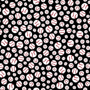 All Stars Peanuts Baseball Balls On Black Cotton Fabric