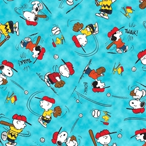 All Stars Peanuts Character Baseball Toss Blue Cotton Fabric