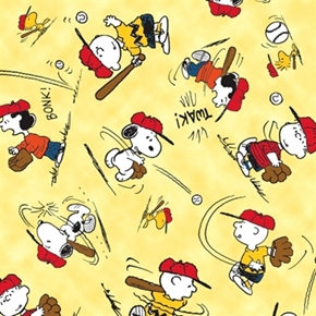 All Stars Peanuts Character Baseball Toss Yellow Cotton Fabric