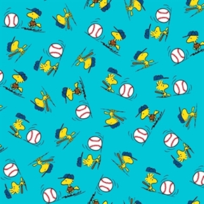 All Stars Peanuts Baseball Woodstock Toss Blue Cotton Fabric