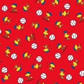 All Stars Peanuts Baseball Woodstock Toss Red Cotton Fabric