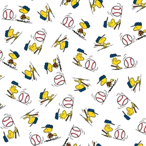 All Stars Peanuts Baseball Woodstock Toss White Cotton Fabric