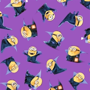 Despicable Me Bite Me Count Minions Purple Minion Cotton Fabric