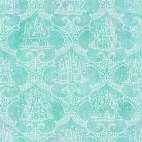 Royal Princess Castle Toile Dark Aqua Cotton Fabric
