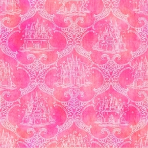 Royal Princess Castle Toile Dark Pink Cotton Fabric