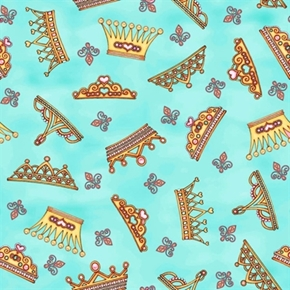 Royal Princess Crown Toss Aqua Cotton Fabric