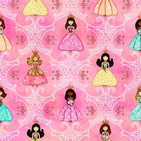 Royal Princess Princess And Filigree Pink Cotton Fabric