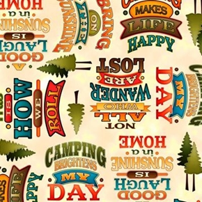 Outdoor Adventure Camping Mottos Camp Words Cream Cotton Fabric
