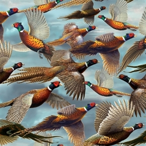 Picture of Wild Pheasant Packed Pheasants Flying on Blue Cotton Fabric
