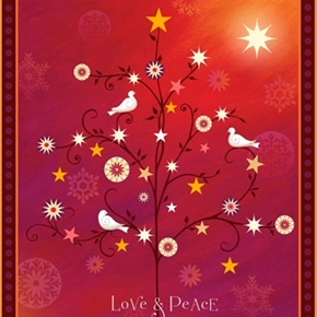 Love And Peace Doves Stars Medallions Red Large Cotton Fabric Panel