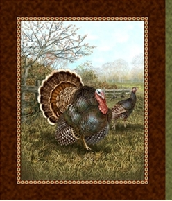 Picture of Bountiful Blessings Turkeys in the Field Turkey Cotton Fabric Panel