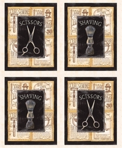 a Close Shave Barber Blocks Razor Talc Scissors 24X22 Cotton Fabric