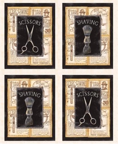 a Close Shave Barber Blocks Razor Talc Scissors 24X22 Cotton Fabric