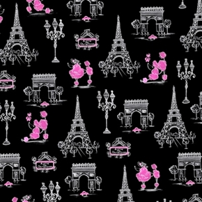 Cest La Vie Poodles In Paris Ink And Arrow Pink Black Cotton Fabric