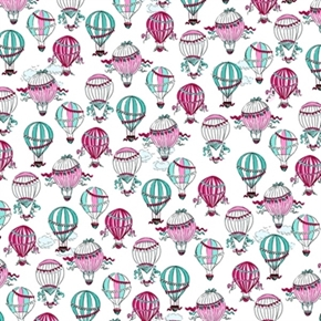 Cest La Vie Hot Air Balloons In Paris White Cotton Fabric