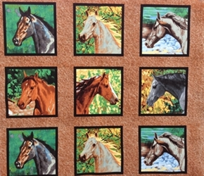 Wild Wings Endless Summer Horse Head Blocks Cotton Fabric