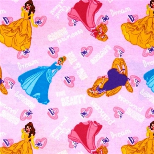 Flannel Disney Princess Kind And True Word Toss Pink Cotton Fabric