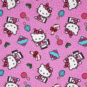 Hello Kitty Present Toss Candy Cane Holiday Pink Cotton Fabric
