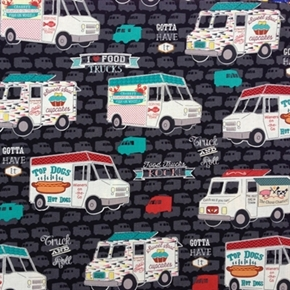 Food Trucks Rock Hot Dogs Seafood Cupcakes Lunch Truck Cotton Fabric