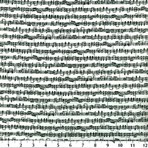 Musical Score Black And White Music Staff And Notes Cotton Fabric