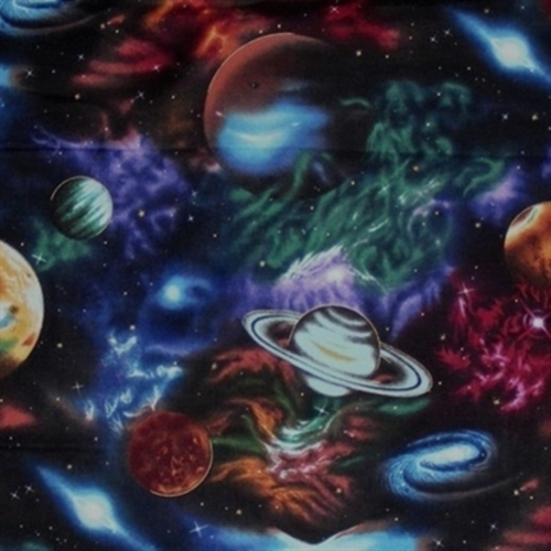 Cotton fabric nature fabric stargazers large planets for Solar system fleece fabric