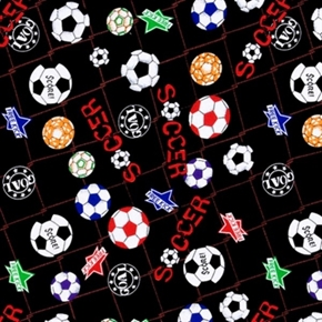 Soccer Balls Colorful Soccer Ball Free Kick On Black Cotton Fabric