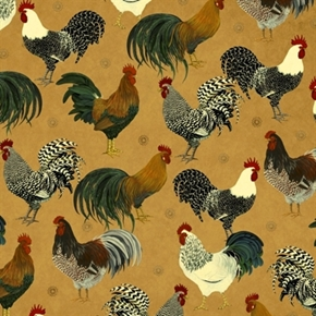 Rise And Shine Rooster Breeds On Marbled Brown Cotton Fabric