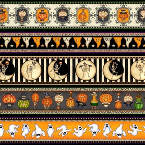 Picture of Creepy Hollow Halloween Decorative Stripe Ghost Pumpkin Cotton Fabric