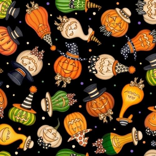 Creepy Hollow Halloween Pumpkin And Gourds Wearing Hats Cotton Fabric