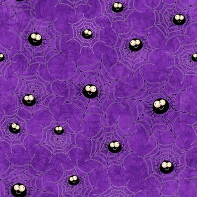 Picture of Creepy Hollow Halloween Spiderwebs Spiders Purple Cotton Fabric