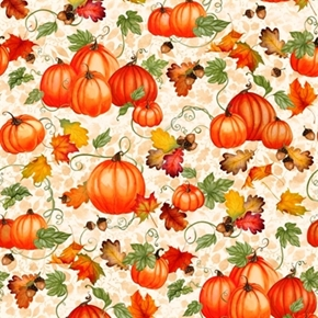Harvest Bounty Pumpkins Acorns And Leaves Gold Metallic Cotton Fabric