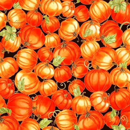 Harvest Bounty Packed Pumpkins Gold Metallic Cotton Fabric
