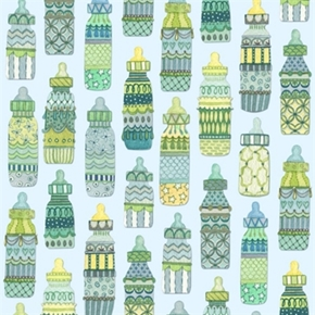 Baby Sprinkles Decorative Baby Bottles On Light Blue Cotton Fabric
