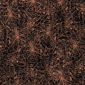 Potions And Spells Spiderwebs Copper Metallic Cotton Fabric