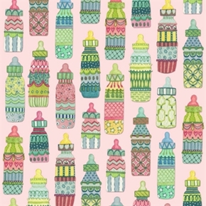 Baby Sprinkles Decorative Baby Bottles On Light Pink Cotton Fabric