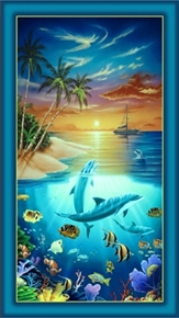 Dolphin Island Tropical Scene 24X44 Large Cotton Fabric Panel