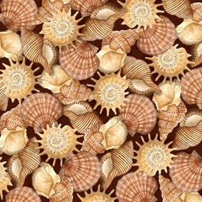 Sea Treasures Brown Shells Seashells Brown Cotton Fabric