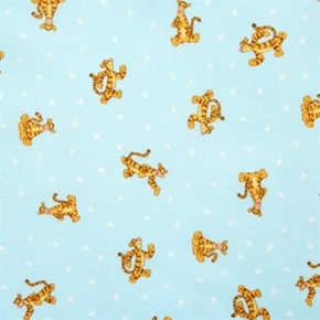 Disney Winnie The Pooh With Tigger On Light Aqua Cotton Fabric