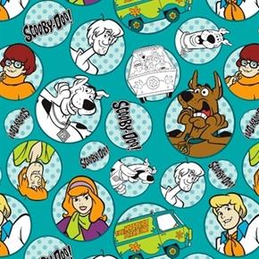 Picture of Scooby-Doo Gang in Bali Hanna Barbara Aqua Badge Cotton Fabric