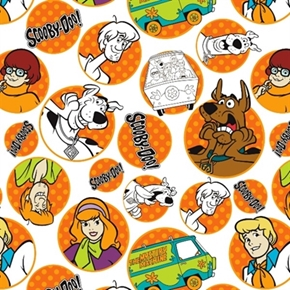 Picture of Scooby-Doo Gang in Bali Hanna Barbara White Badge Cotton Fabric