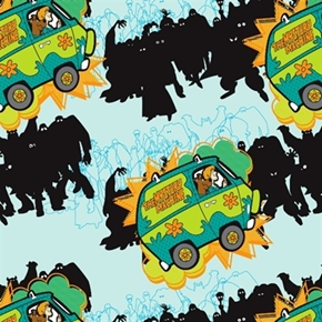 Picture of Scooby-Doo Mystery Machine in Bali Hanna Barbara Aqua Cotton Fabric