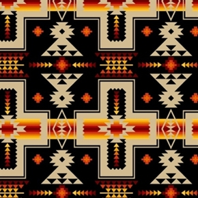 Tucson Southwest Tan Red Orange Aztec Design On Black Cotton Fabric
