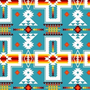 Tucson Southwest Cream Red Orange Aztec Design Turquoise Cotton Fabric